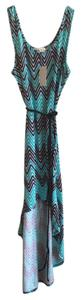 Blue and Black Maxi Dress by Belle du Jour Tie Hi Lo Chevron Beaded