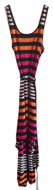 Preload https://item3.tradesy.com/images/belle-du-jour-pink-black-and-orange-hi-lo-comfortable-tie-striped-bold-stripe-high-low-casual-maxi-d-1107352-0-0.jpg?width=400&height=650