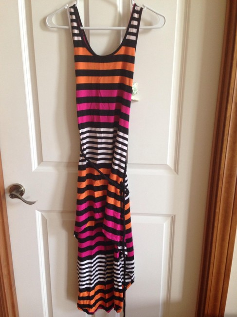 Pink black and orange Maxi Dress by Belle du Jour Hi Lo Comfortable Tie Striped Bold Stripe