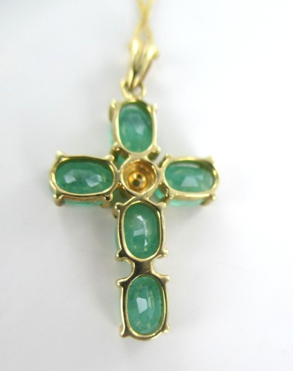 Other 14kt SOLID YELLOW Gold Emerald Cross Pendant and Necklace for Sale!!!