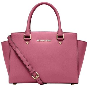 Michael Kors Saffiano Leather Satchel in Tulip Pink