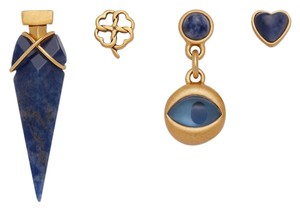 Tory Burch NEW Tory Burch Mismatched Charm Earring Set 4 Studs 16k Gold Best of Luck 4pc Set