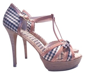 Jessica Simpson Britt Gingham Size 9.5 Gingham Black/Tan Sandals