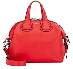 Givenchy Nightingale Waxy Satchel in red