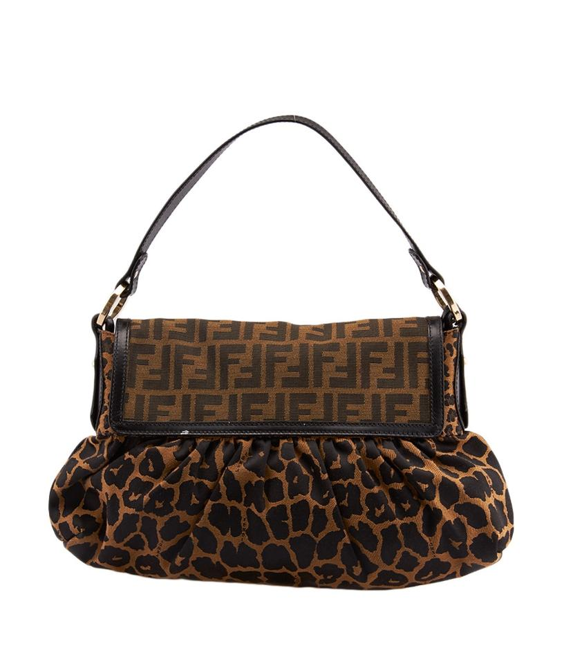 Fendi Chef Leopard Print   Zucca Nylon (72150) Brown Canvas Shoulder ... 37d96239e26fd