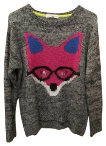 Rewind Medium Fox Print Gray Sweater