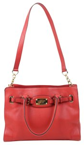 Michael Kors Gold Chain Tote Leather Satchel in red