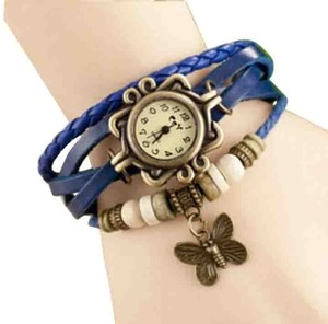Blue Leather Bracelet Watch Butterfly Charm Free Shipping