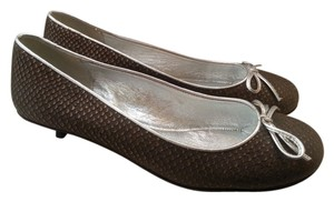 Kate Spade Kitten Leather Brown and Silver Pumps