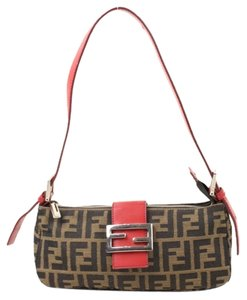 Fendi Red Leather Zucca Monogram Shoulder Bag