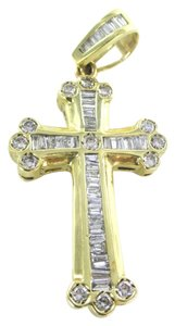 14kt SOLID YELLOW Gold Cross 42 Diamonds Pendant for Sale!!!