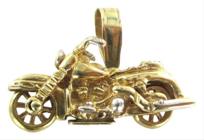 Item - Gold 14kt Solid Yellow Motorcycle Bike Diamond Pendant Charm