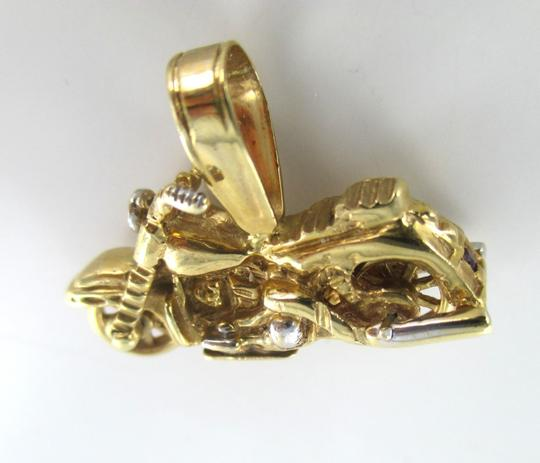 Berkshire 14kt SOLID YELLOW Gold Motorcycle Bike Diamond Pendant for Sale!!!