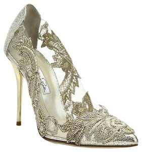 1cf336cb682 Oscar de la Renta Sale Alyssa Sale Beaded Embroidered Pointy Toe Made In  Italy Gold and