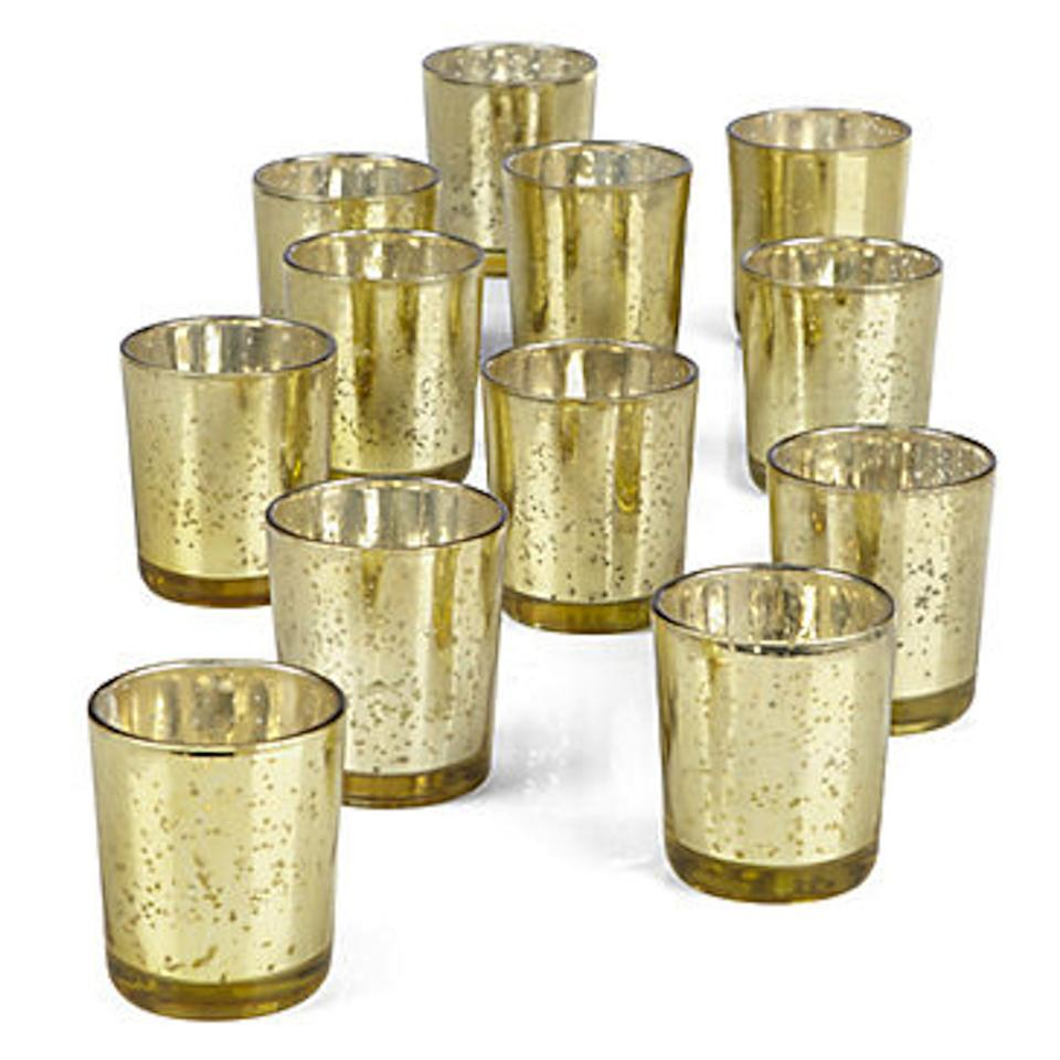 48 Gold Mercury Glass Votives With The Votive Candles