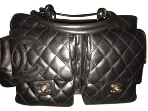 Chanel Leather Cambon Reporter Satchel in Black