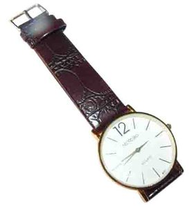 Mingbo Brown PU Leather Band with Simple Easy Read Quartz Watch Face Free Shipping