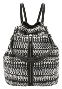 Elizabeth and James New Grey Woven Fabric Leather Trim Black Backpack