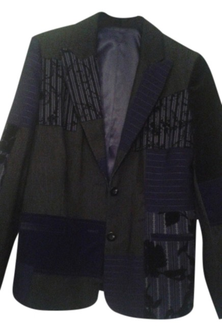 Item - Black Combined Velvet Wool and Very Fine Corduroy Jacket Size 6 (S)
