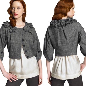 Robert Rodriguez Floral Applique Crop Brown Jacket