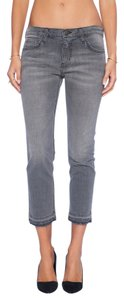 Current/Elliott The Cropped Distressed Cropped Straight Leg Jeans-Distressed