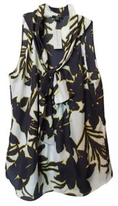 Ann Taylor Silk Sleeveless New Top White and black with yellow - green accent
