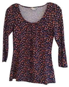 Boden Date Top Navy with royal blue & tan spots