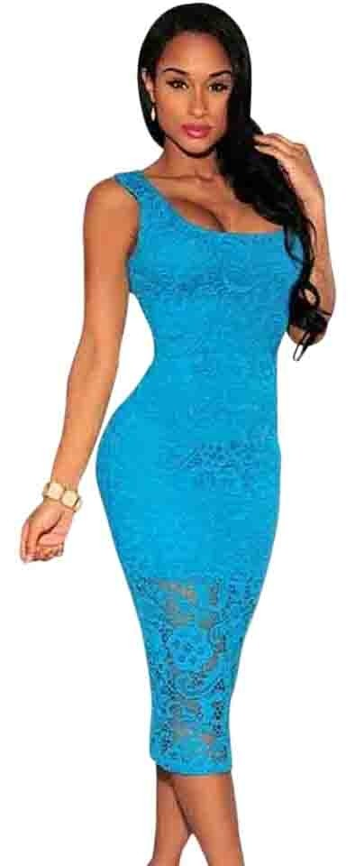 Hot Miami Styles Blue Crochet Long Formal Dress Size 4 S Tradesy