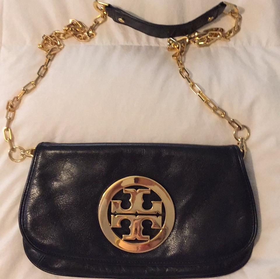 964a39ea497a Tory Burch Reva Logo Clutch Black with Gold Hardware Leather Cross Body Bag