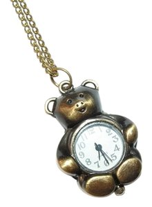 Other Bronze Quartz Teddy Bear Watch Sweater Necklace Free Shipping