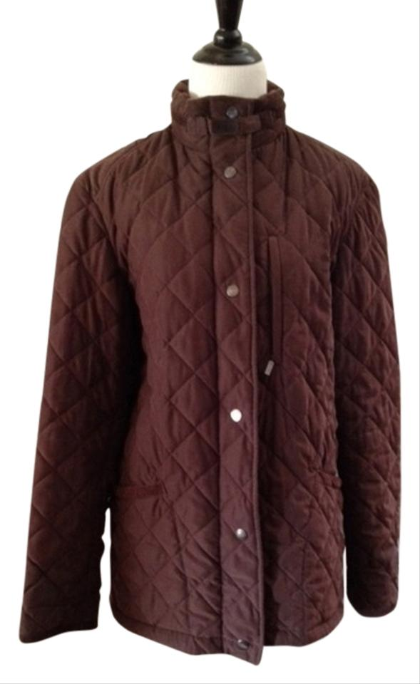 Brown Quilted English Country Style M L Spring Jacket Size 10