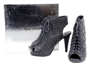 Kelsi Dagger Ankle Leather Studs Platform Gray Boots