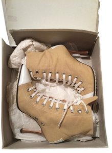 Manolo Blahnik Canvas Ankle Heels Lace Up Beige Boots