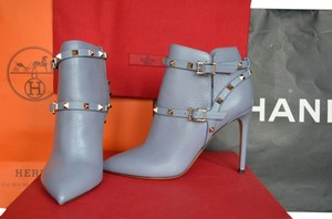 Valentino Rockstud Blue Silver New 37 Azure Steel Boots