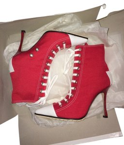 Manolo Blahnik Canvas Heels Sneaker Lace Up Red Boots