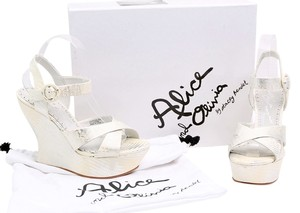 Alice + Olivia White Ankle Strap Sandals Platform Leather White/SIlver Wedges