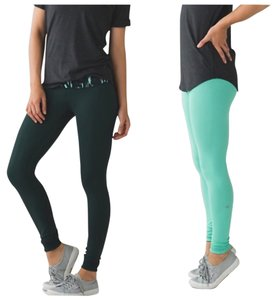 Lululemon New With Tags Lululemon Wunder Under Pant III Reversible Size 6 Dark Fuel Green And Menthol Small