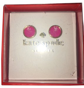 Kate Spade NWT-FREE-GOLD STUD PINK CRYSTAL EARRINGS Mother's Day Gift