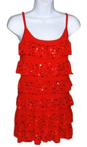 Belldini Cocktail New With Tags Sequined Ruffles Scoop Neckline Spaghetti Straps Dress