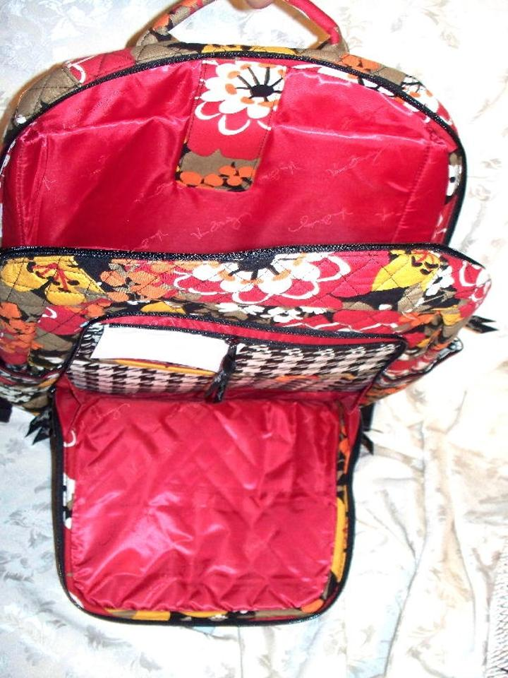 Vera Bradley Laptop Bookbag Nwot Bittersweet Red Orange Yellow ... cc9ded78b2eb3