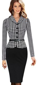 VfEmage Elegant Vintage Retro Houndstooth Button Collar Business Bodycon Belted Dress