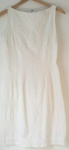 Other short dress White Cotton Fitted Sheath Damask on Tradesy