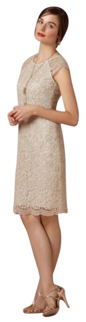 Item - Gold Mint Cream Shined Lace Shift Knee Length Cocktail Dress Size 2 (XS)