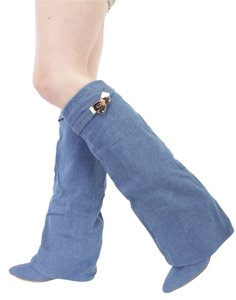 Wedge Tall Style Denim Boots
