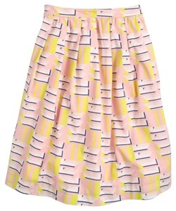 J.Crew Print Skirt pink, yellow, white