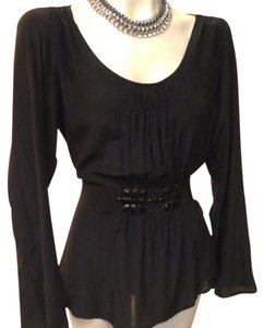 Emanuel Ungaro Unargo Stretch Silk Evening Night Out Date Night Top Black
