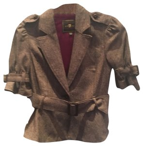 7 For All Mankind Belt Office Party Dinner Brown with Burgundy lining Blazer