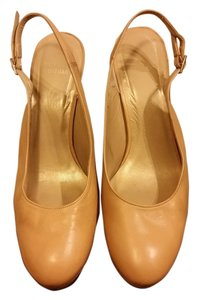 Stuart Weitzman Leather Slingback Beige Platforms