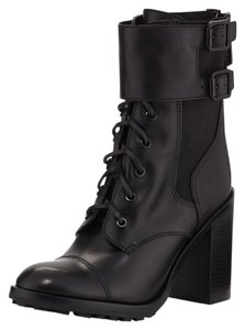 Tory Burch Heels Leather Leather 7 New Military Combat Combat Biker Moto Lace Lace Up Track Sole Black Boots