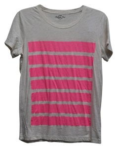 J.Crew T Shirt Heathered wheat with pink neon stripes